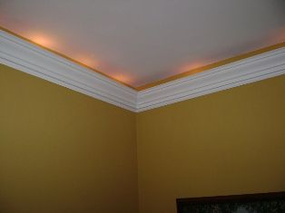 crown molding with string lights