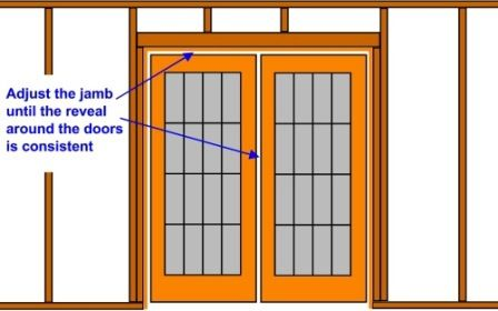 drawing demonstrating the reveal around french doors
